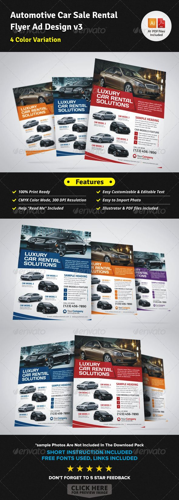 Automotive Car Sale Rental Flyer Ad V3  For Sale Ad Template