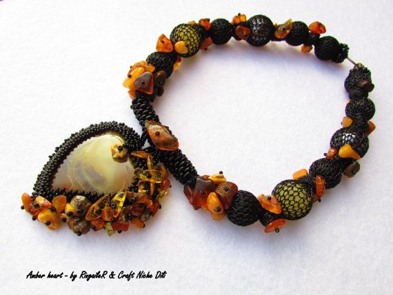 Beaded Necklace Amber Heart   use coupon by CraftNicheDili on Etsy