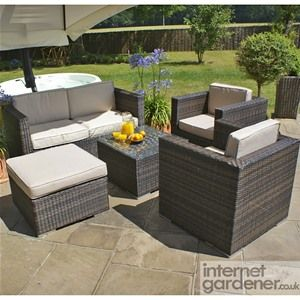 maze rattan 5 piece rattan garden sofa set