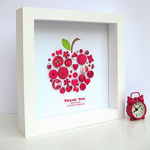 Thank You Teacher Personalised Apple Artwork - thank you gifts for teachers