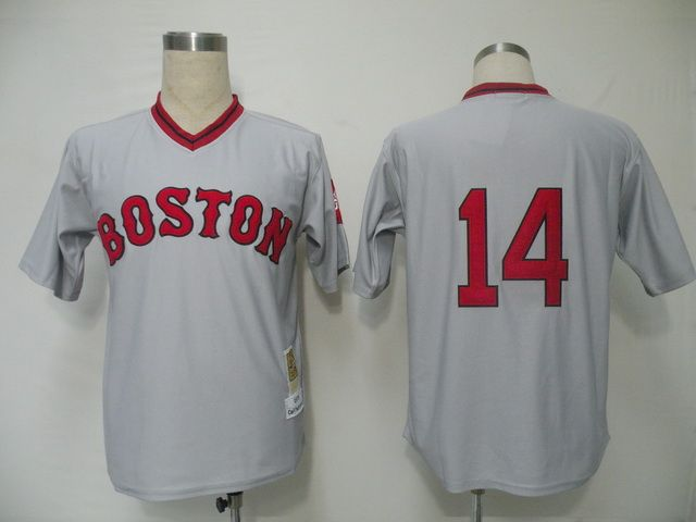 mitchell and ness red sox 14 jim rice grey embroidered throwback mlb jersey 21.50