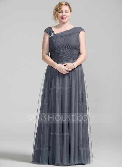 A-Line/Princess Floor-Length Tulle Mother of the Bride Dress With Ruffle Beading Sequins (008077025)