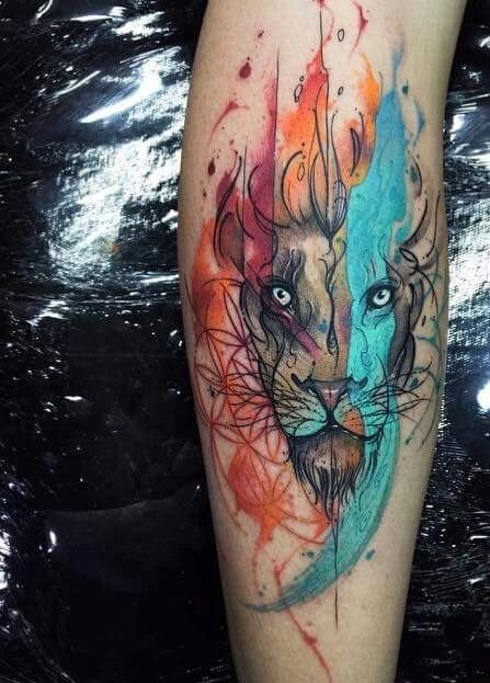Water color lion. Pretty cool