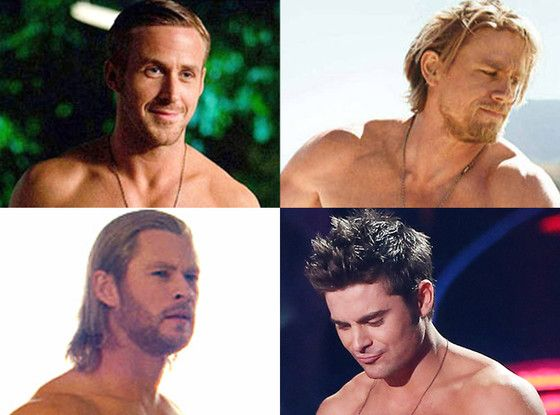 Celeb Men's Best Bod Tournament: Vote in the Semi-Finals!  Best Male Body Tournament, Charlie Hunnam, Zac Efron, Chris Hemsworth, Ryan Gosling