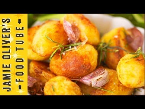 Jamie's Perfect Roast Potatoes. I've never tried mashing them half way through. Have to try!