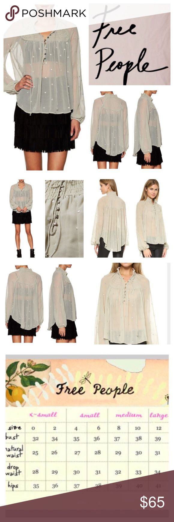 """Free People Ready To Run Blouse.  NWT. Free People Ready To Run Blouse, 100% polyester, washable, 18.5"""" armpit to armpit (37"""" all around), 19"""" arm inseam, 24"""" length, metallic embroidery and sequins form raised polka dots on this airy blouse, smocked elastic neckline is secured with beaded ties, and buttons secure the quarter placket, long sleeves and gathered elastic cuffs, semi-sheer, measurements are approx.  NO TRADES Free People Tops Blouses"""