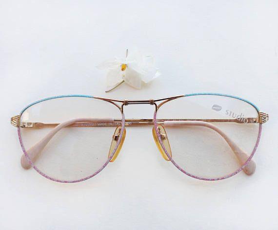 80s womens eyeglasses / Vintage deadstock pastel frames / hipster enamel aqua pale pink nos sunglasses / flat top bridge Eyewear Made Italy by Skomoroki on Etsy