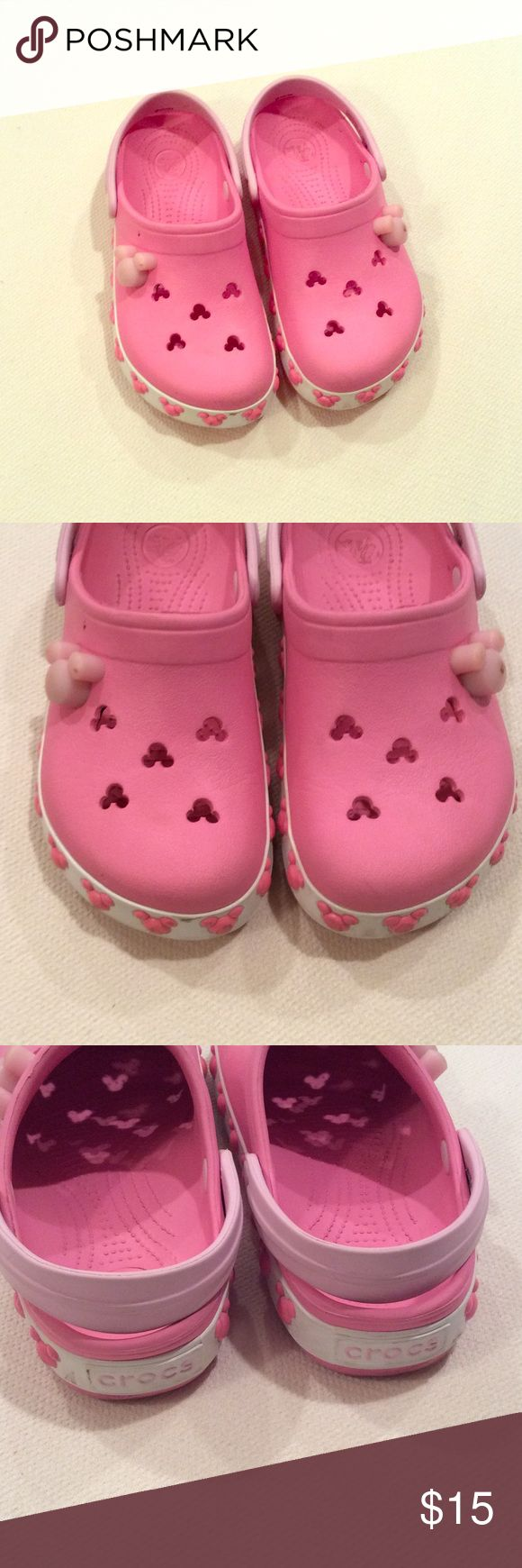 Pink Crocs Pink and White Minnie Mouse themed Crocs. Excellent condition. Toddler size 12/13 CROCS Shoes