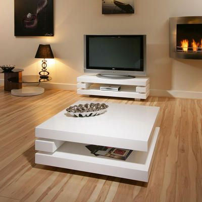 Coffee / End / Side / Lamp Table Square White Gloss Modern Designer 7E Preview