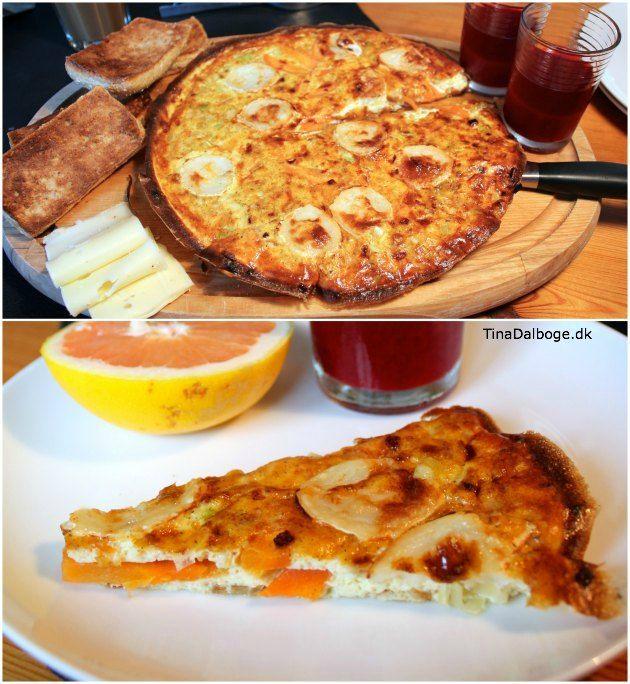 italiensk omelet Frittata med gedeost og gulerødder