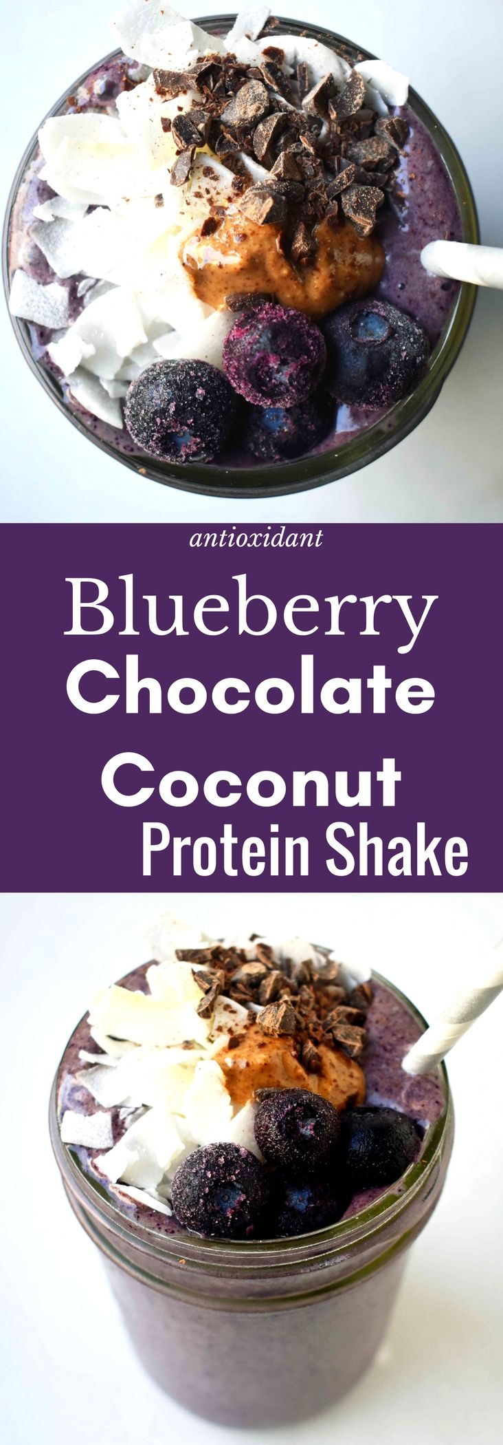 Antioxidant Rich Blueberry Chocolate Coconut Protein Shake made with powerful superfoods. A nutritious smoothie made with unsweetened coconut milk, frozen wild blueberries, chocolate protein powder, almond butter, banana, cacao powder, and topped with coconut flakes. A filling, vitamin packed breakfast to give you energy all day long. www.modernhoney.com