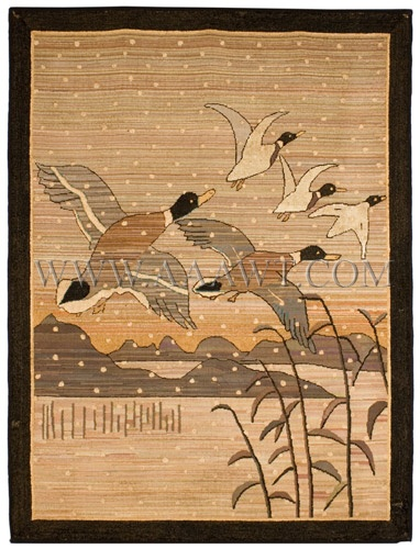 """OUTSTANDING A Scarce and Large Grenfell Rug """"WINTER"""" Circa 1900 $4985.00"""