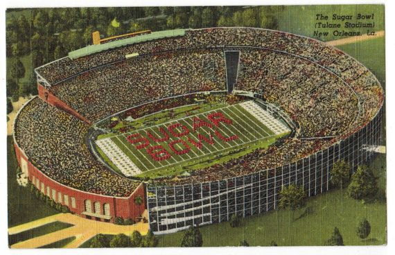 This vintage linen postcard features the Sugar Bowl being played at Tulane Stadium in New Orleans, Louisiana. Officially known as Third Tulane Stadium, the facility was used from 1926 to 1980. It was the home stadium for the Tulane Green Wave football team as well as the New Orleans Saints from 1967 to 1974. Tulane Stadium began hosting the Sugar Bowl in 1935 and was also host to Super Bowls in 1970, 1972, and 1975. The stadium was demolished between November 1979 and June 1980.