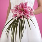 Asian lily bridal bouquet with architectural style.