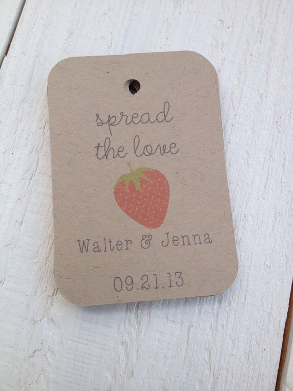 Strawberry Spread The Love Wedding Favor Tags