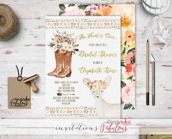Boho Chic aquarel bruids douche uitnodiging  door SimplyFabulousCo