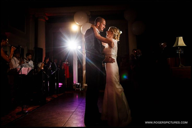 Bride and Groom on their First Dance at a wedding at Denton Hall in Yorkshire by Wedding Photographer Paul Rogers
