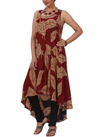Red Batik Asymmetrical Kurta Set by Myoho | Indian Designers | Indian Clothes