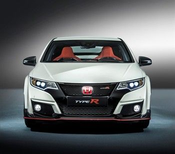 Front view of the Honda Civic Type R in White