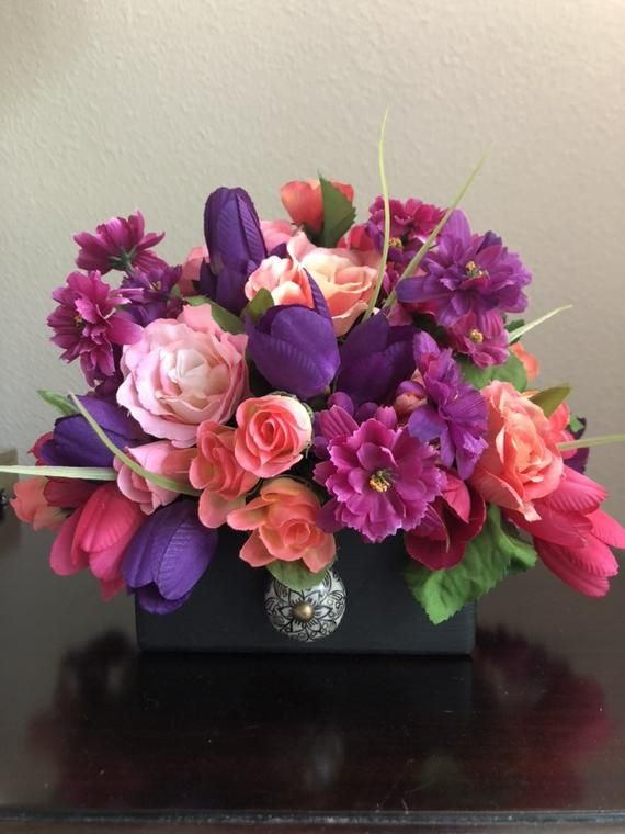 Reserved For Lynn Pink Purple Coral And Fuchsia Floral Etsy Flower Arrangements Coral Roses Spring Arrangements