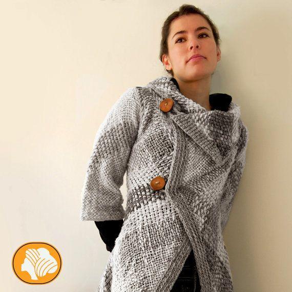 Grey flecked woolen unique design coat by Ullvuna on Etsy