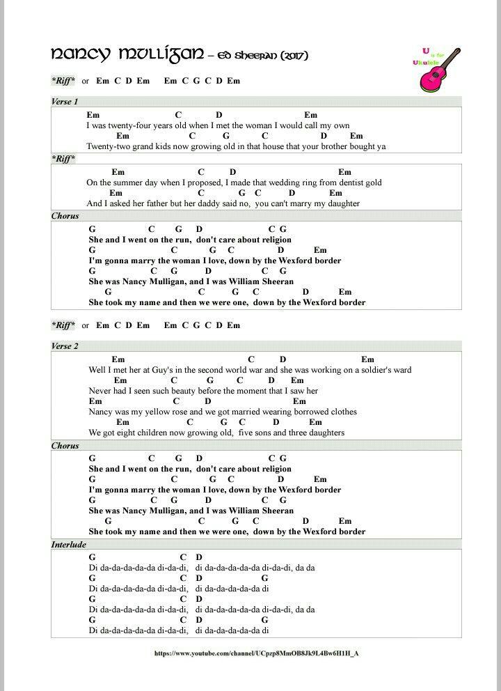 Best 25 nancy mulligan ideas on pinterest the great divide lyrics divide ed sheeran and - Ed sheeran dive chords ...