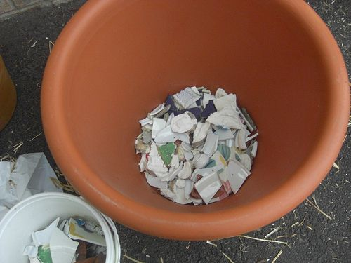 Or use bits and pieces to help with drainage for garden planters.   41 Ways To Reuse Your Broken Things