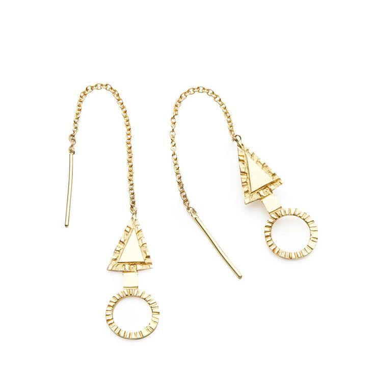 Arrowhead drop earrings, 14K gold $485
