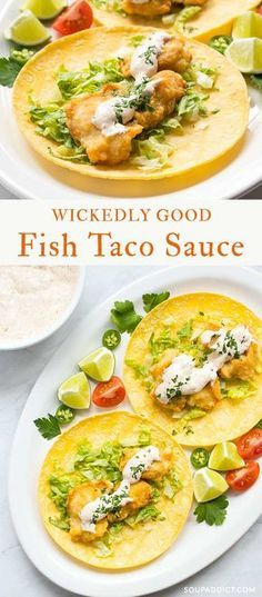 Wickedly Good Fish Taco Sauce - hands down, the best fish taco sauce I've ever had! Perfectly seasoned with herbs, spices, and chili peppers, it's the perfect white sauce for your fish tacos! Recipe at SoupAddict.com | fish taco sauce | white sauce for fish tacos | tartar sauce | vegetarian