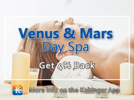 How does a massage sound? How about a facial or pedicure? Venus & Mars have you covered PLUS  you get 4% back with the Kabinger app. Enjoy.