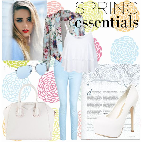 """""""Spring in Blue and White"""" by michellezee on Polyvore"""