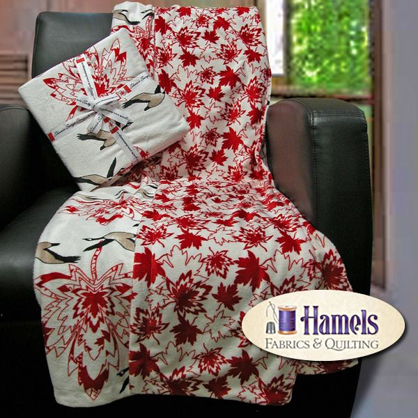 - MAPLE CANADA GEESE MINKY THROW - RED/B - Hamels Fabrics & Quilting
