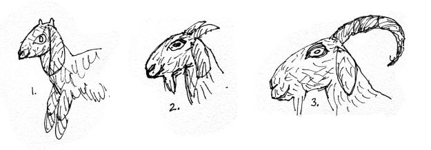 working sketches. Trying to define different ages of goat for 3 Billy Goat Gruff puppets