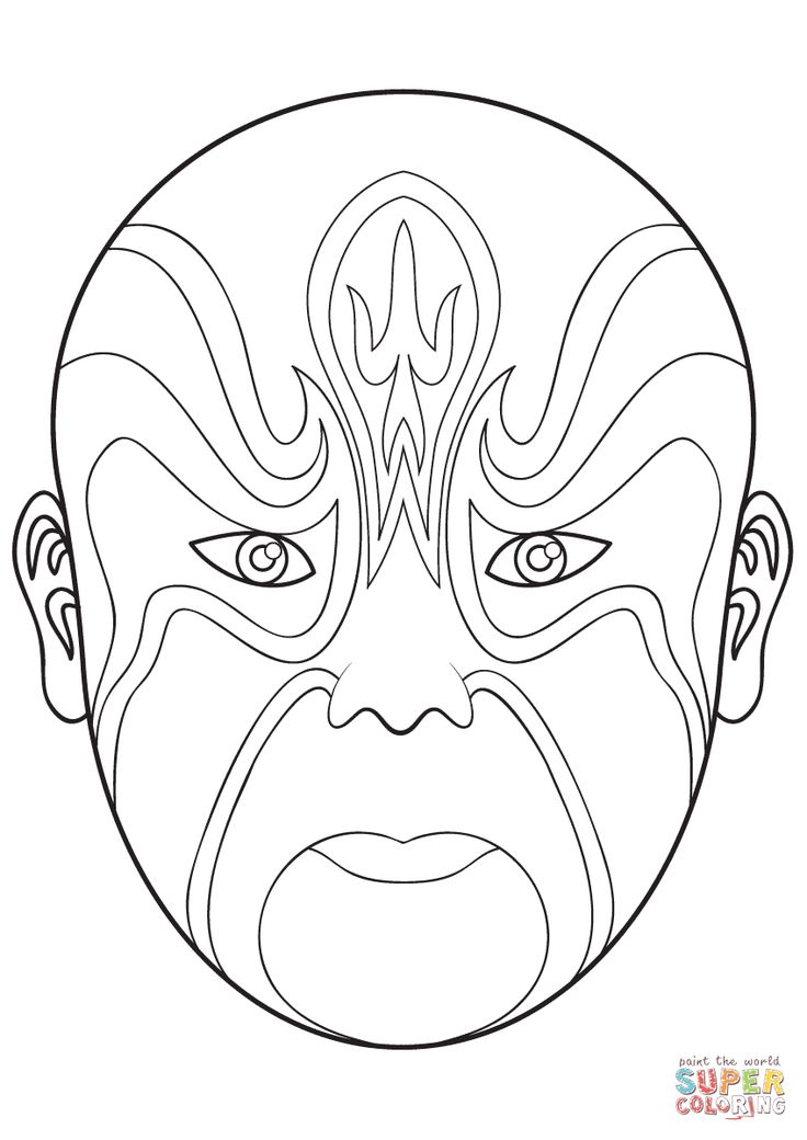 mask coloring pages - chinese opera mask 4 super coloring coloring page