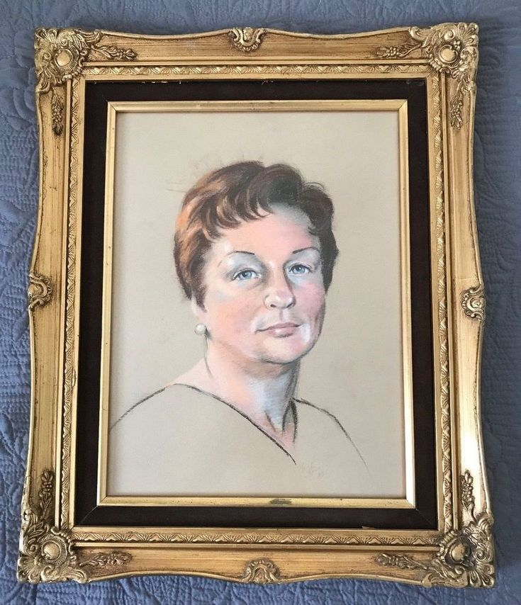 Vintage Charcoal Art Drawing Lady 1980 Gold Color Frame Matted Signed Portrait    eBay