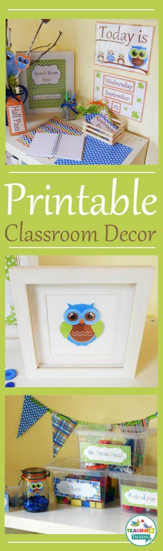Printable Green & Brown Owl Themed Classroom Decor by teachingtalking.com