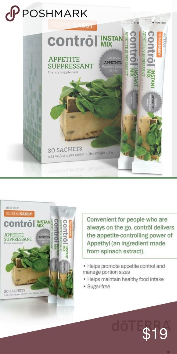 doTERRA Slim and Sassy Appetite Suppressant Contrōl contains a revolutionary ingredient extracted from spinach that has been clinically shown to significantly reduce appetite for up to six hours.   Promotes feels of satiety for up to 6 hours DIRECTIONS FOR USE Take one sachet per day. Mix 4-8 oz. of water with one sachet, mix well and drink immediately. Take in the morning if you tend to snack during the day, at noon if you tend to snack during the evening. Best if taken with meals…