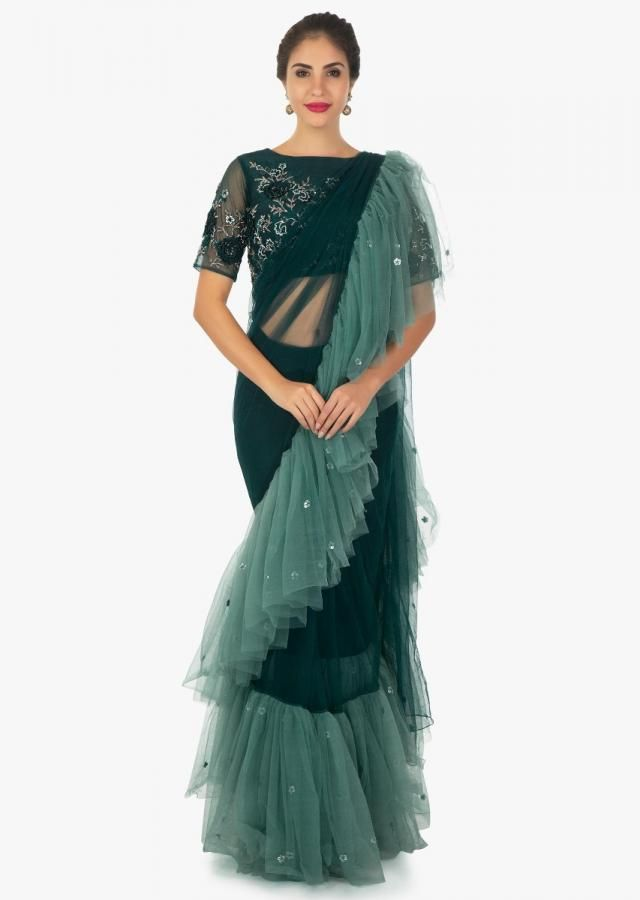79ee8bf2a3 Pine green pre - stitched frill saree and blouse in 3 D flower only on kalki