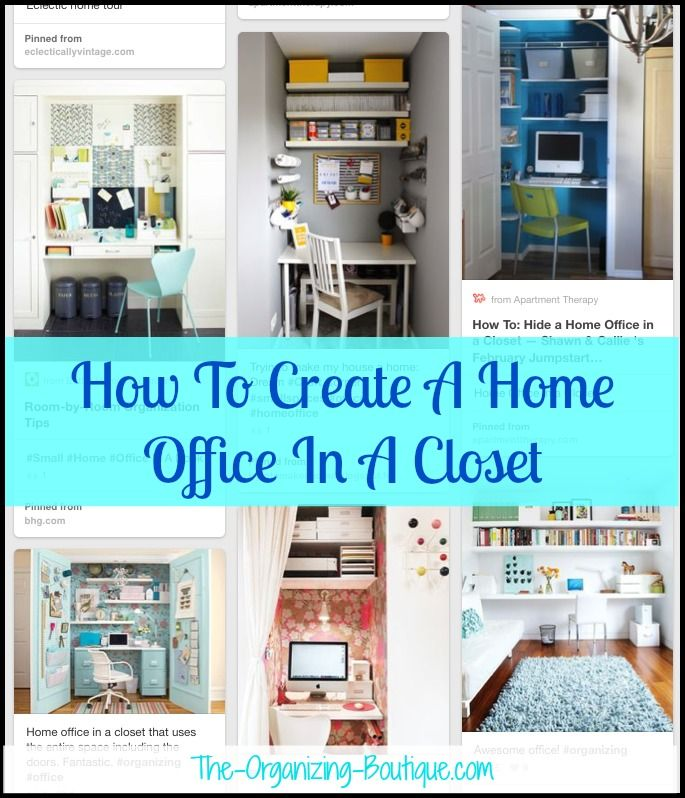 'Home Office In A Closet - Office Organization Ideas & Creative Home Office Tips For Any Teeny, Tiny Space...!' (via The Organizing Boutique)