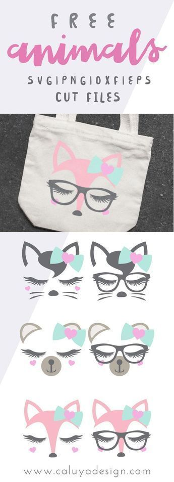 FREE Lovely Animal Faces SVG, PNG, DXF & EPS by