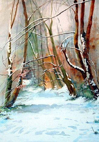 Tourmakeady In The Snow. Original Sold. by angela emsen-west on ArtClick.ie Ireland Landscape Art