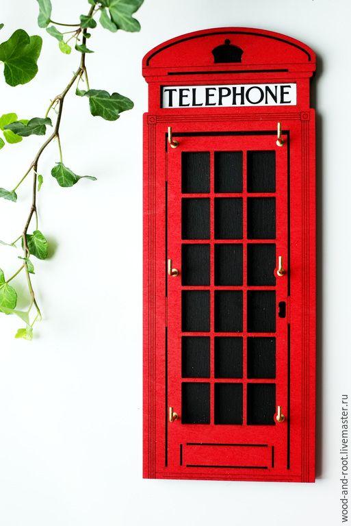 Купить Ключница Лондонская телефонная будка - ярко-красный, красный, лондон, англия, Великобритания