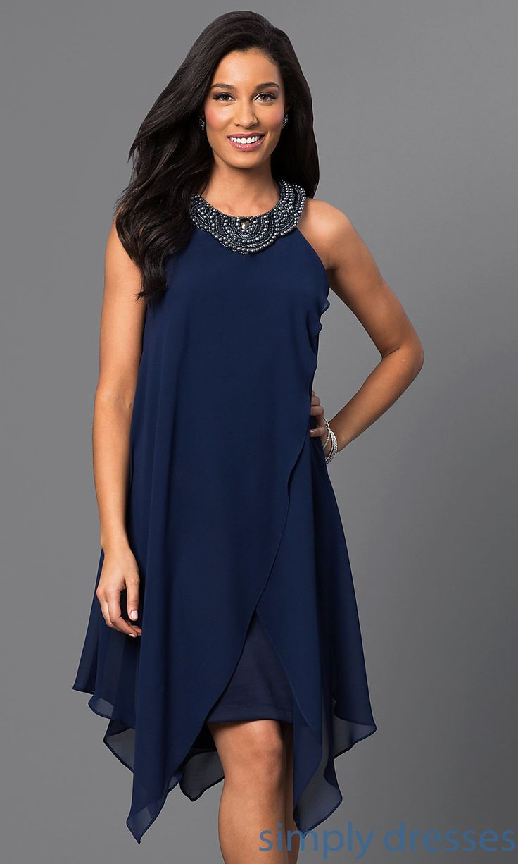 Shop handkerchief party dresses and blue homecoming dresses at Simply Dresses. Navy-blue wedding-guest dresses and chiffon cocktail dresses.