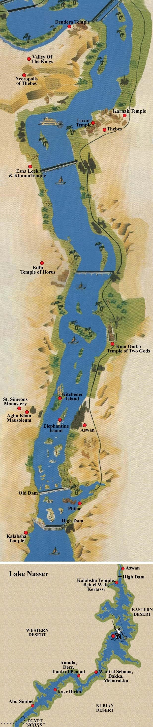 map of Egypt the Nile flows from