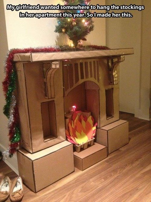 DIY fake fireplace. This would be fun for a classroom or college apartment.
