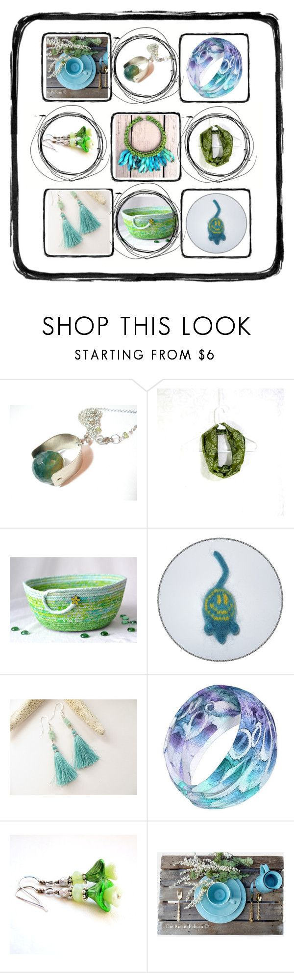 """Blue to Green"" by fibernique ❤ liked on Polyvore featuring Rustico"