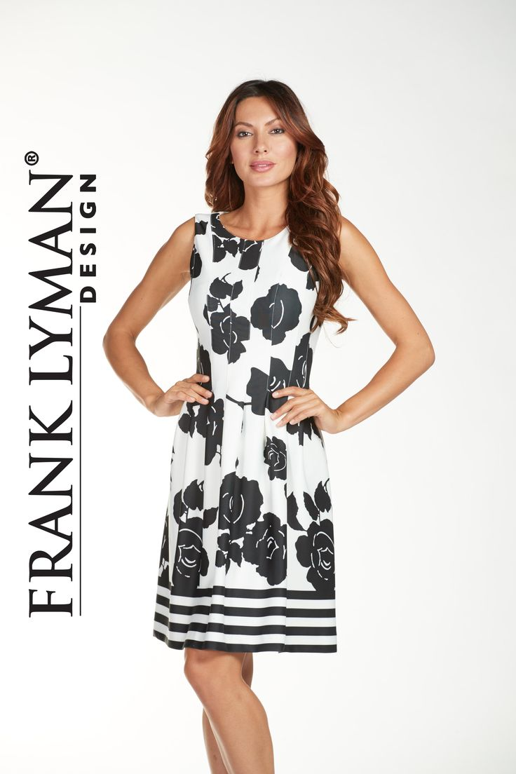 Frank Lyman Dresses 2017. Silky scuba knit dress in flattering a-line style. Proudly Made In Canada