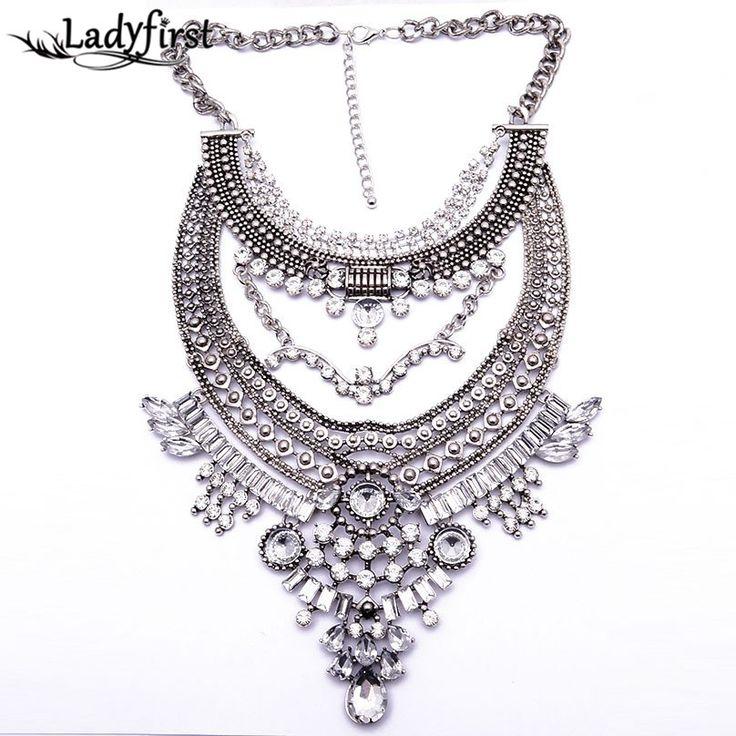 est Maxi Big Brand Vintage Big Metal Accessories Statement Bead Alloy Necklaces & Pendants Collar Choker Necklace B3316