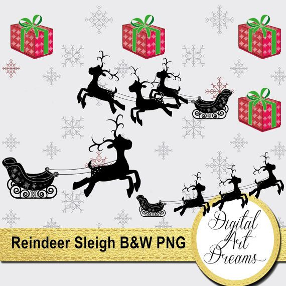 Christmas Black And White Clipart Reindeer By DigitalArtDreams