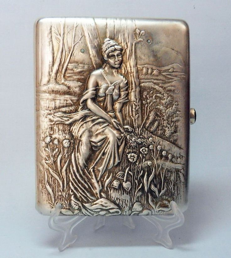 Jugendstil Zigarettenetui  Silber 84 mit Gold  RUSSLAND   RUSSIA cigarette case